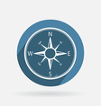 Circle blue icon with shadow compass vector