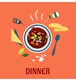 Bbowl of hot soup with bread and conditments vector