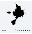 High detailed map of sark with navigation pins vector