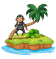 Monkey and island vector