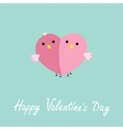 Two pink birds in shape of half heart love cart vector