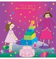 Happy birthday gift girl cake and fairy vector