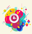 Clock on abstract colorful spotted background with vector