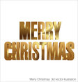 Merry christmas 3d golden text vector