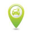 Car with gas station iconmap pointer green vector