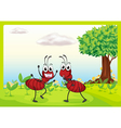 Two ants in nature vector