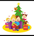 Family and christmas tree vector