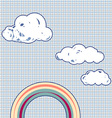 Cartoon clouds and rainbow in retro textured sky vector