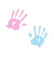 Handprint of girl and boy vector