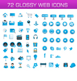 75 glossy web icons vector