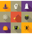 Halloween squared flat icons set 4 vector