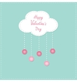 Cloud with hanging rain button drops happy vector