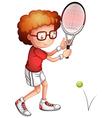 Cartoon tennis girl player vector