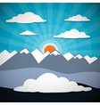Mountain abstract background with sun clouds vector