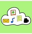 Cloud computing in colorful doodle style vector