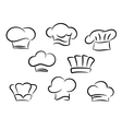 Chef and cook hats set vector