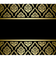 Black bright card with gold pattern vector