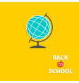 World globe back to school flat design style vector