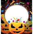 Smiling jack o lanterns halloween background vector