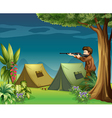 A hunter in a campsite vector