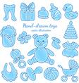 Hand-drawn baby icons set vector