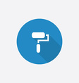 Paint roller flat blue simple icon with long vector