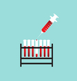 Test tube with blood and syringe vector
