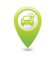 Car with rudder icon map pointer green vector