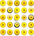 Round yellow arrow icons vector