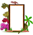 Funny dinosaur with blank sign vector