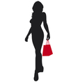 Woman silhouette with shopping bag vector