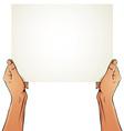 Female hands holding blank paper sheet vector