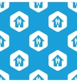 Couple in house hexagon pattern vector