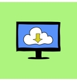 Cloud computing sign in doodle style vector