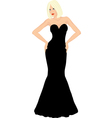 Blonde woman in black dress vector