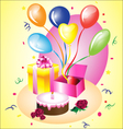 Birthday gift with a cake vector
