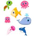 Sea life cartoon set vector