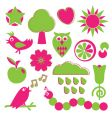 Pink and green nature elements vector