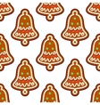 Gingerbread seamless pattern with christmas bell vector