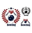 Bowling emblems and symbols vector