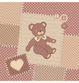 Vintage greeting card with teddy bear vector