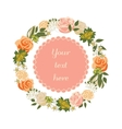 Bright floral card with cute cartoon flowers in vector