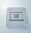 Glass square icon laptop with letter envelope vector