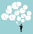Businessman with cloud of bubble speech vector