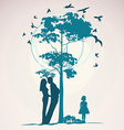 Couple standing near a tree vector