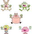 Cartoon animals holding cash vector