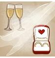 Wedding rings in box vector