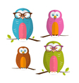 Owls set isolated on white background vector
