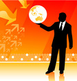 Businessman holding planet vector