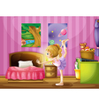 A young girl exercising in her room vector